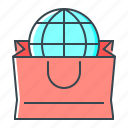 bag, ecommerce, globe, online, online shopping, shopping icon