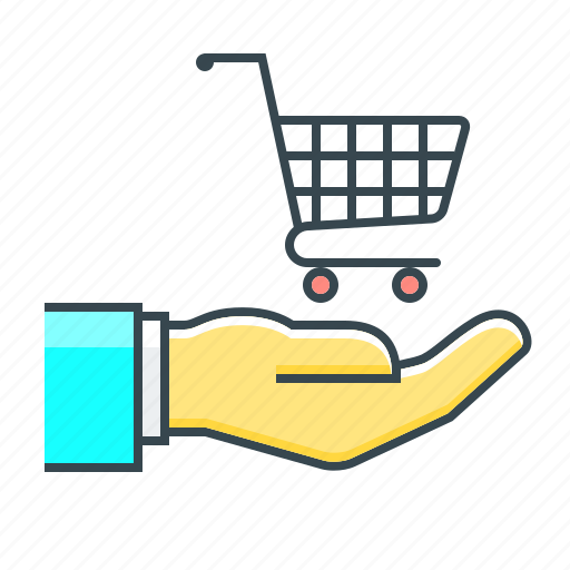 cart, e-commerce, ecommerce, guarantee, hand, purchase icon