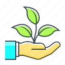 ecological, hand, product, start, start up, startup, up icon