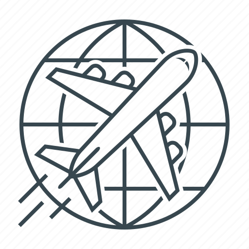 aircraft, delivery, globe, journey, shipping icon