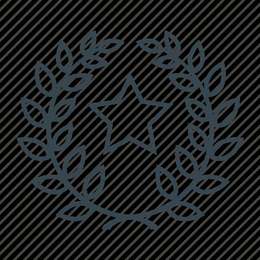 laurel, premium, premium product, prize, product, star, wreath icon