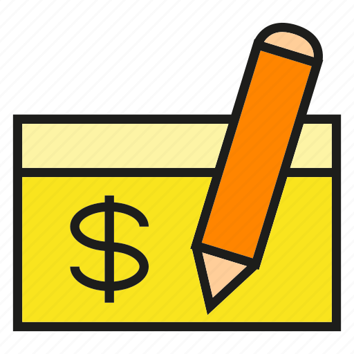 check, document, payment, pen, writing icon