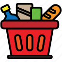 basket, bread, grocery, shopping, store, trolley icon