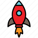 installing, launch, rocket, space, spaceship, startup icon