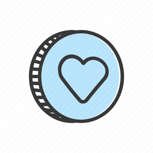 coin, ecommerce, finance, heart, online, payment, shopping icon