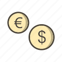 coins, dollar, euro, money icon