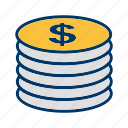 coins, dollar, money icon
