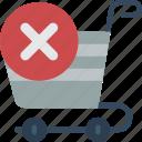 delete, e commerce, e-commerce, ecommerce, shopping, trolly icon