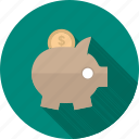 banking, coin, dollar, money, piggy bank, save, saving icon