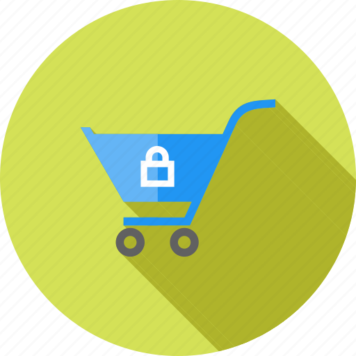 basket, carrier, cart, ecommerce, locked cart, shopping, trolley icon