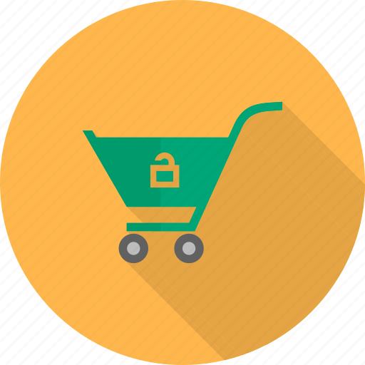 basket, buy, cart, market, shopping, trolley, unlock cart icon