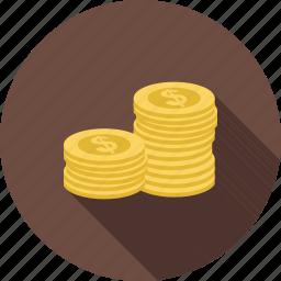 cash, coin, dollar, heap, jackpot, money, stack icon