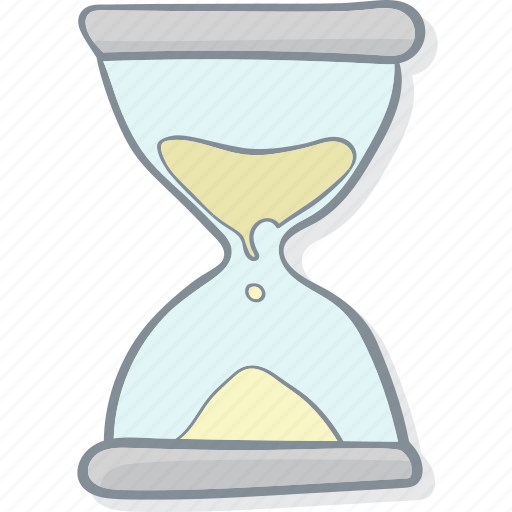 clock, drawing, drawn, hand, hourglass, sandglass, watch icon