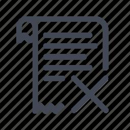 billing, cancel, invoice, receipt icon