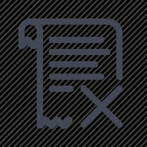 billing cancel invoice receipt icon