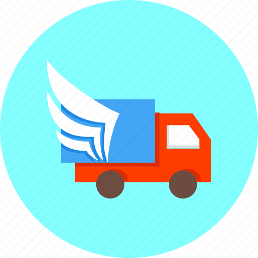 delivery, ecommerce, shipping, transportation, truck, wings, with icon