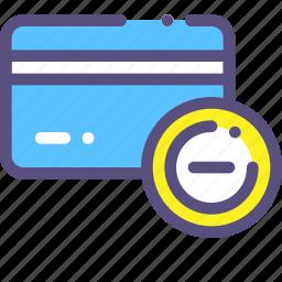 card, credit, delete, minus icon
