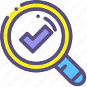 approach, done, glass, magnifying, success, survey icon