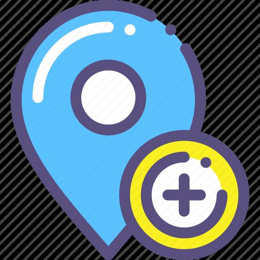 add, destination, map, mark, marker, plus icon