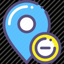 delete, destination, map, mark, marker, minus icon