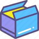 box, mail, open, parcel, success icon