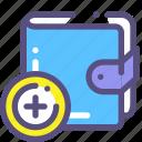 add, money, purse, shop icon