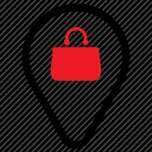 location, marker, market, pin, shop, shopping icon