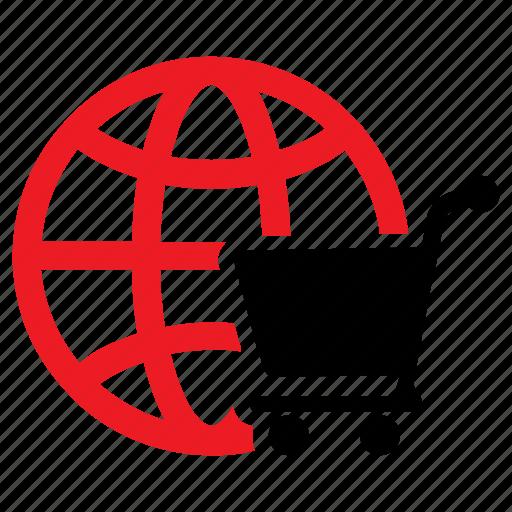 e-commerce, global market, global shopping, online shopping, shopping cart icon