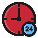 24 hours, clock, commerce, e, hour icon