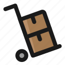 carry, commerce, delivery, e, trolley icon