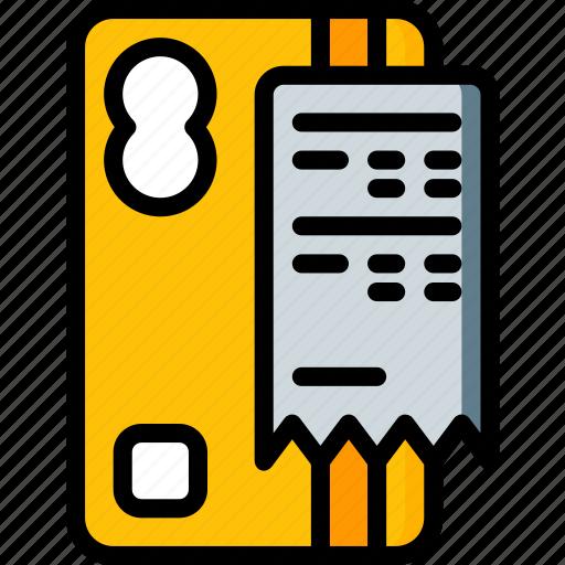 card, e commerce, e-commerce, ecommerce, receipt, shopping icon