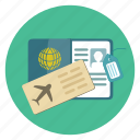 aeroplane, air, airplane, flight, passport, ticket, travel icon