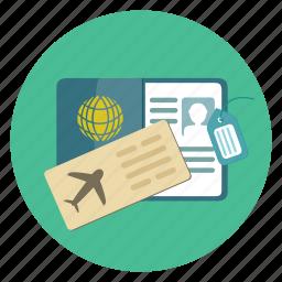 aeroplane, air, airplane, flight, passport, ticket, travel icon