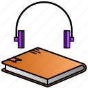 audio, audio book, book, learning, study icon