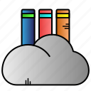 digital library, education, library, online icon