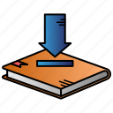 book, download, ebook, learning, study icon