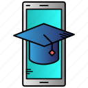 education, learning, mobile, mobile learning, online, study icon