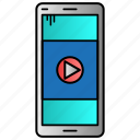 education, mobile, study, video, video lesson icon