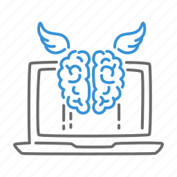 brain, digital, education, notebook, student icon
