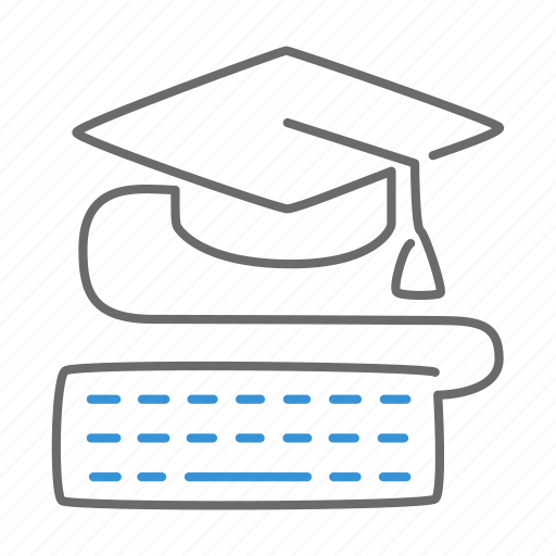 education, graduate, keyboard, online, study icon