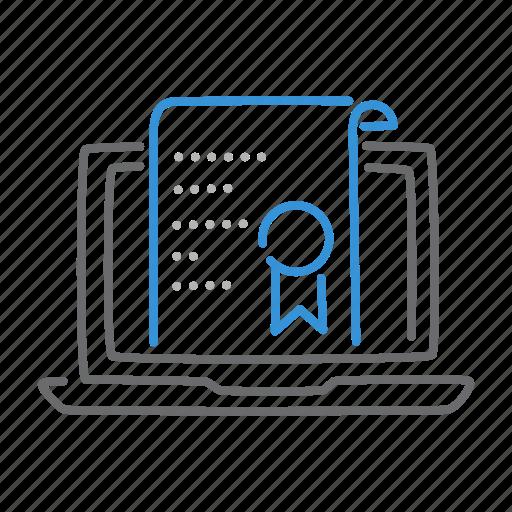 certificate, learning, notebook, online, school icon