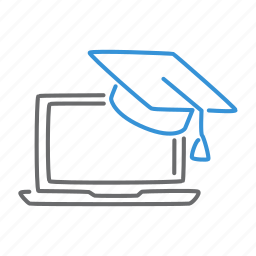 education, graduate, knowledge, laptop, learning, student icon