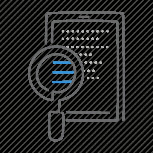 ipad, read, search, zoom icon