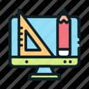 education, online, pencil, ruler, tools