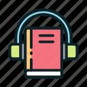 audio, book, education, headphone, online icon