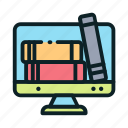 book, digital, education, library, online icon