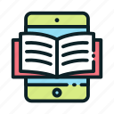 education, learning, online, reading icon