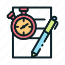education, online, pen, pencil, quiz, stopwatch, timer icon