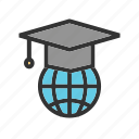 degree, diploma, educational, global, student, study, web icon