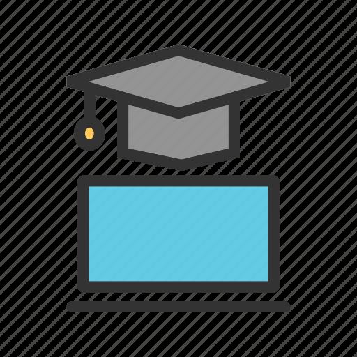 degree, education, laptop, online, success, university, web icon